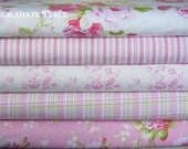 five Half yard bundle  .Sadies Dance Card, and Zoey's garden by Tanya Whelan.. pink colorway
