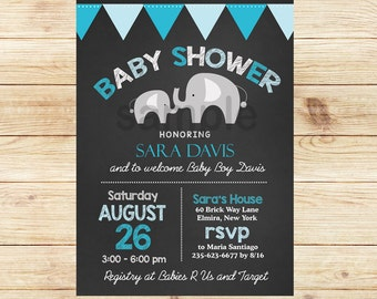 Mod Elephant Blue Baby Boy Chalkboard Baby Shower Invitation, Printed or Printable bs-040