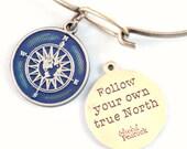 True North Reminder Token Charm Bracelet or Necklace