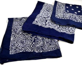 Lot of 3 Blue Rockabilly Southwest Collectible Vintage Fast Color Bandanas - #B16