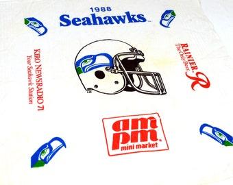 Vintage 80s Seattle Seahawks Superbowl Champions NFL Cotton Bandana - Rainier Beer