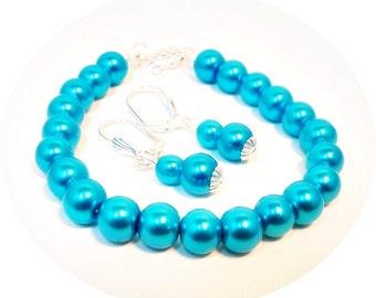 Aqua Jewelry, Bracelet Earrings, Bridesmaid Jewelry, Aqua Jewelry Set, Bridesmaid Aqua, Bridesmaid Gift, Aqua Beaded Jewelry, Aqua Pearls