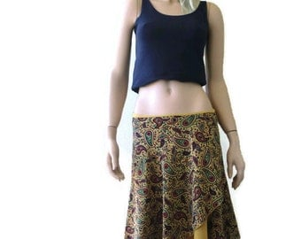 Bohemian Mustard yellow-Ochre  paisley cotton wrap skirt  turns into a dress-It is made with two layers of cotton fabric-Summer fashion