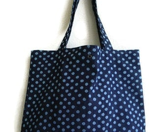 Polka dot denim canvas tote bag with light blue polka dots on Navy blue- book bag,Lined carry all tote bag