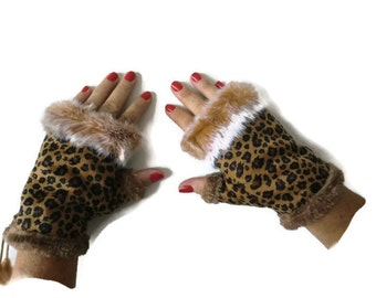 Leopard winter gloves-Faux fur winter gloves-Fingerless Gloves -Brown faux suede with fur trimming-Vegan leather-suede