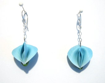 Light Blue Sweet Pea Earrings, Dainty Floral Jewelry, Sculpted Flower Earrings, Polymer Clay Dangles, Bridesmaid Gift, Sterling Silver