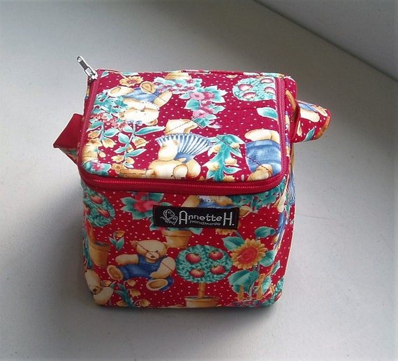 Zippered Knitting Bag : Teddy bear knitting project bag with zipper