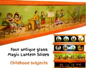 Four Magic Lantern Slides. Charming Childhood Theme. Antique German Magic Lantern Slides. Very Old Glass Slides. Late 19th Century.