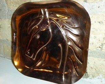 """Rebajes Stylized Horse Head.  6"""" Vintage Copper Plate Dish.  Circa 1940s / NYC. Relisted and Polished."""