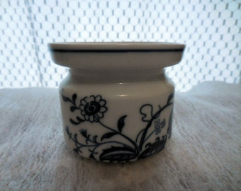 Porcelain Blue & White Pattern Pillar Candle Holder Made in JAPAN Blue Sticker