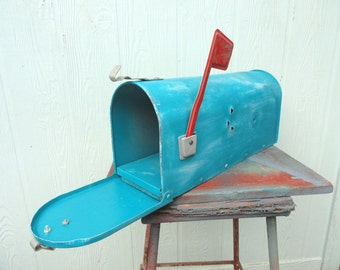 Vintage Mailbox Turquoise Rustic Rural Aqua Mail Box Bullet Holes Country Wedding