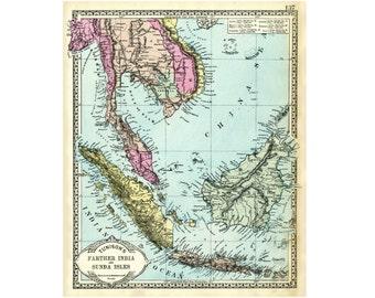 Vintage Indonesia, Malaya, Burma map from the 1890s.  Tunison map  printable  for wall art.  Sunda Isles, Bali,  Asia map.