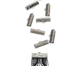 50pcs.  20mm  (3/4 inch)  Platinum Silver Ribbon Clamps - Artisan Series