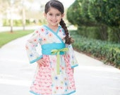 Girl's Kimono Dress, Girls Clothing, Kimonos, Party Dress, Baby Girl dress, Toddler dress, Girl Dresses, pink dress, size 2T 3T 4T 5 6 7 8