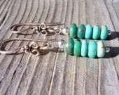 Turquoise and bali sterling silver dangle and drop earrings, turquoise jewelry, southwest jewelry
