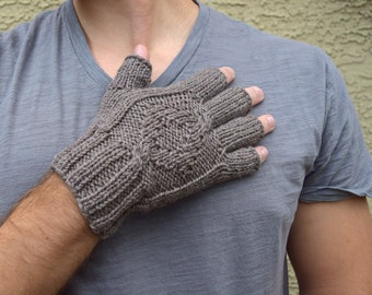 Men's fingerless gloves - Mocha brown - gift for him - mans gift - Christmas - Valentines Day - Fathers Day