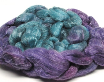 Merino/Tencel Roving  Hand dyed Teal purple