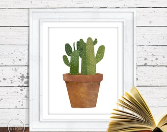 Cactus in Terra Cotta Pot Illustration Wall Art - Printable 8x10