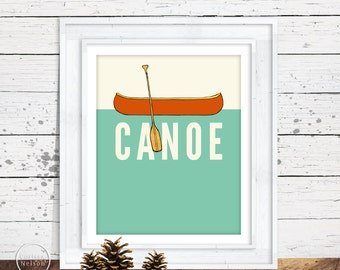 Canoe Illustration Art Print Poster - Instant Download 8x10