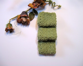 Green Crochet Dishcloths, Set of 3,  100% Cotton,  7 1/2 inches by 7 1/2 inches