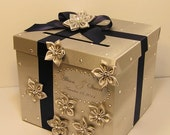 Wedding Card Box Silver and Navy Blue Gift Card Box Money Box Holder-Customize your color