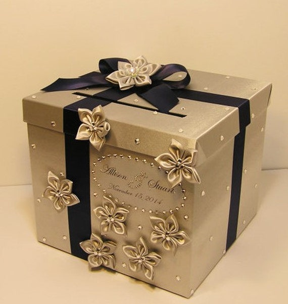 Silver Wedding Gift Card Holder : Wedding Card Box Silver and Navy Blue Gift Card Box Money Box Holder ...
