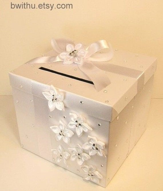 Wedding Gift Card Containers : Wedding Card Box White Gift Card Box Money Box Holder-Customize your ...