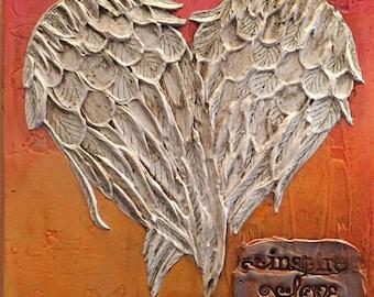 Angel Wings Wall Decor, Angel Wing Heart, Angel Wing Art, Sculpture, Painting