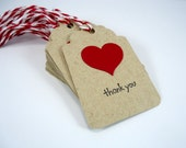 Red heart wedding favor tags, Valentine's Day tags, heart gift tags with string, red heart thank you tags, kraft gift tags, set of 10