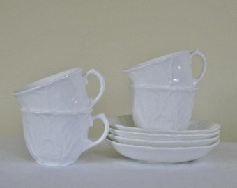 Set of Four All White Wedgwood Cups and Saucers, Countryware Textured Pattern, Bone China Made in England