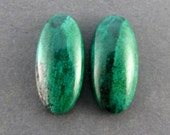 Parrot Wing Chrysocolla Designer Cabochon Matched Pair SALE 25% OFF