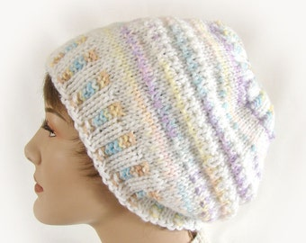 Woman's Winter Hat White and Pastel Knit Hat Woman's White and Pastel Striped Knit Hat Women's Winter Accessory Girl's White Beanie Hat