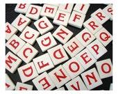 Red Letter Game Tiles Bulk Lot of 72, Vintage Wooden Alphabet Game Pieces, Scrabble Like Tiles, Signage Craft Supplies Tile Pendant
