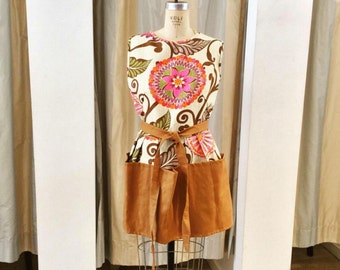 Brown Floral Pinafore