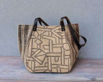 Geometry Bag - Cotton and Leather Stripes and Symbols