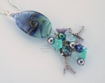 Seascape pendant, ocean pendant, nature inspired, ocean themed, sea necklace, pearls, coral, flowers, blue sea pendant, seascape jewellery