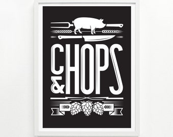 Gifts for Him, Foodie Gift, Kitchen Decor, Posters of Food, Wall Art - Chops & Hops Screenprinted Poster: