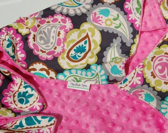 Baby Girl Blanket - Paisley Beat with Pink or Teal Minky