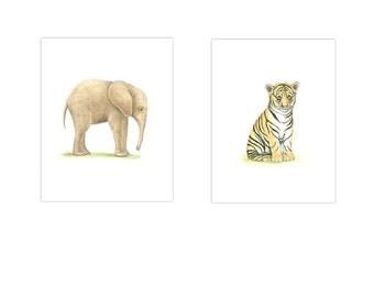 2 Set ANIMAL PRINTS baby Boy Nursery 5 x 7 Safari NURSERY Art Nursery Prints Nursery Art Baby Girl nursery Elephant Tiger Gender Neutral Art