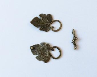 Bronze Leaf with Grape Cluster Toggle Bar, Bronze Toggle Clasp