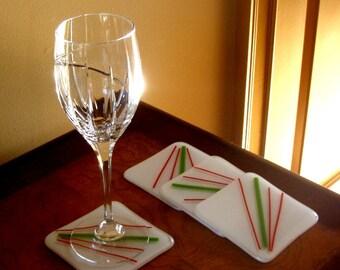 Fused Glass Christmas Coasters, Handmade Coasters, Hostess Gift