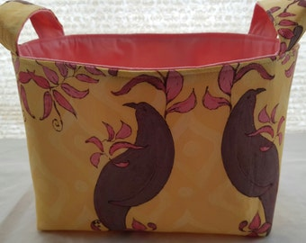 Fabric Organizer Container Birds  Bin Storage Basket