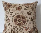 ON SALE Suzani brown pillow cover, brown suzani throw pillow, lumbar pillow cover