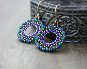 Emerald Green and Cobalt Blue Beaded Hoop Dangle Earrings, Beaded Hoops, Boho Jewelry, Bohemian, Emerald Earrings