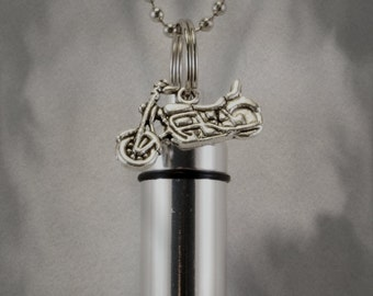"Silver Motorcycle  CREMATION URN Necklace on 24"" Ball Chain with Engraved US Flag - Includes Velvet Pouch and Fill Kit"