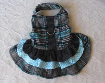Dog Harness Dress Plaid XXS