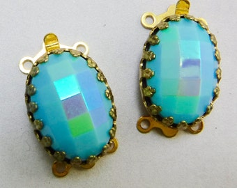 Ornate Gold Clasp 2 Strand Blue AB Vintage Glass Cabochon in Gold Crown Setting C-12