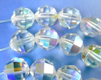 Crystal Beads 10mm  8 pcs Crystal AB Article 5000 Round Faceted B-231