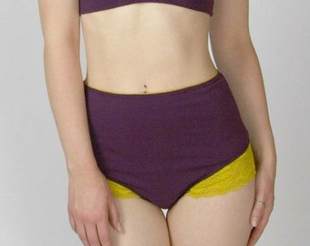 high waisted panties in organic cotton with lace trim - made to order - CAROUSEL