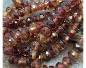 Cranberry Ginger Czech Glass Faceted Rondells 6x4mm, Sugar and Spice Collection